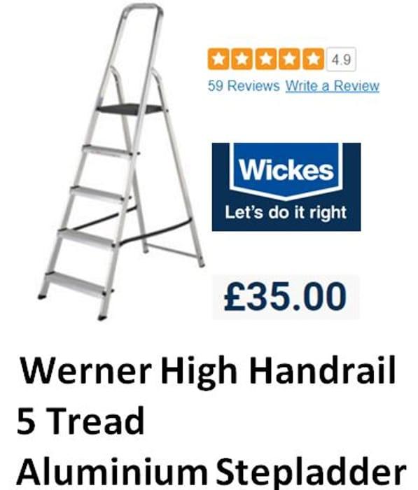 WICKES - Werner High Handrail 5 Tread Aluminium Stepladder