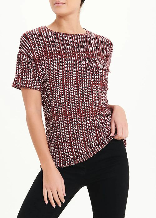Short Sleeve Abstract Spot Button Tab Top