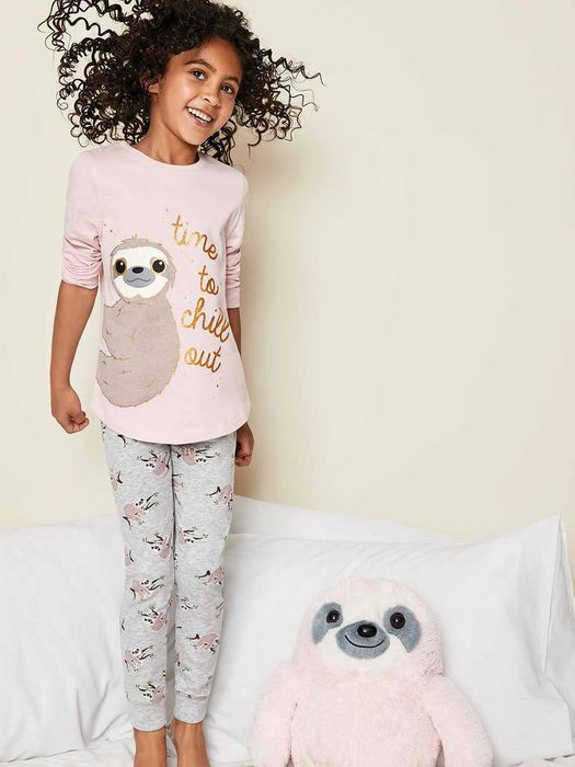 Girls Pink Sloth Pyjama Top and Leggings Set