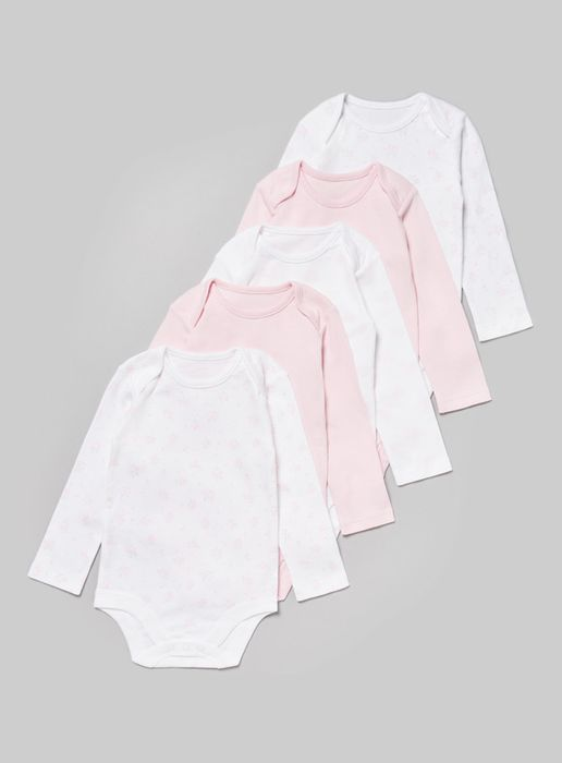 Pink Long Sleeve Bodysuit 5 Pack (Tiny Baby-36 Months)