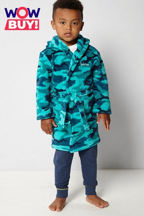Cheap Embroidered Personalised Camo Green Supersoft Robe Only £4!