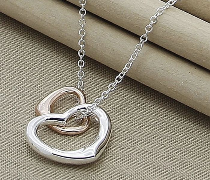 Silver & Gold Double Heart Necklace