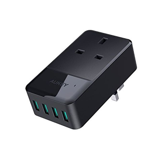 UKEY USB Wall Charger 4 Ports (5V/2.4A * 4) with a Socket