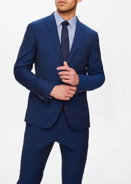 Cheap Men's Blue Wool Blend Suit Jacket - Save £38