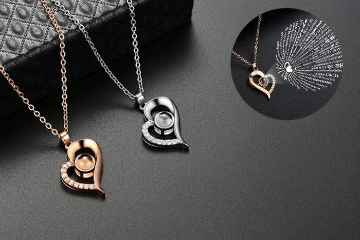 I Love You Projection Heart Necklace - 2 Colours!