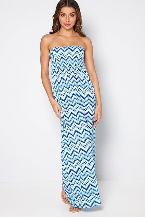 Best Price! Zig Zag Bandeau Maxi Dress - Sizes 16-26