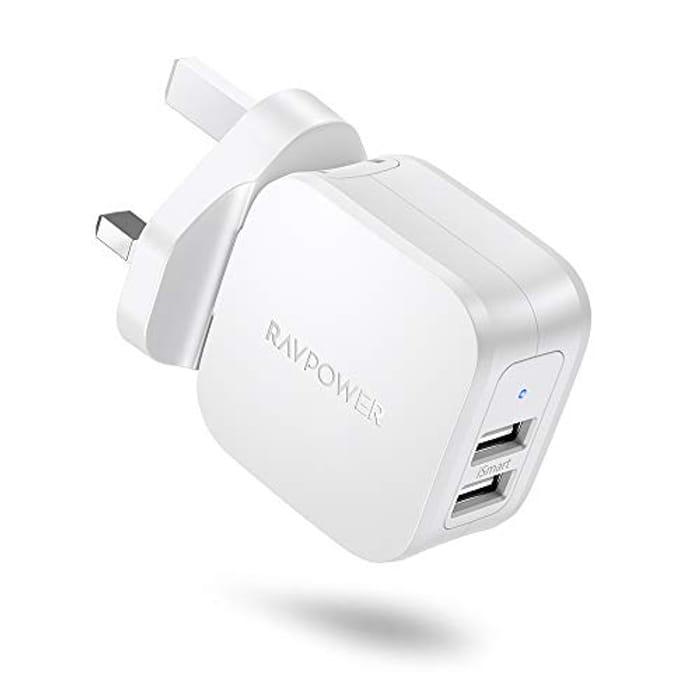 RAVPower USB Charger Plug Mains Charger 17W Dual Wall Charger Plug