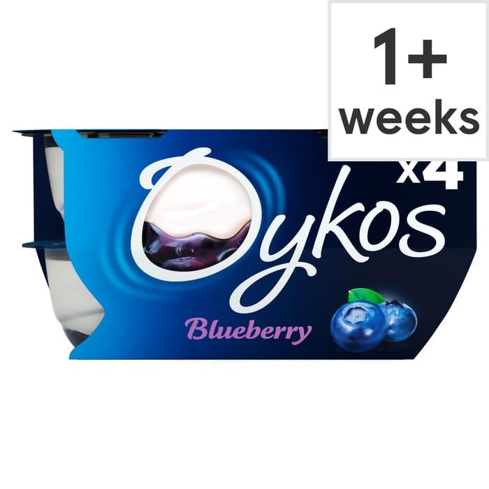 Oykos Greek Style Blueberry Yogurt 4X115g save £1 Now £1 @Tesco