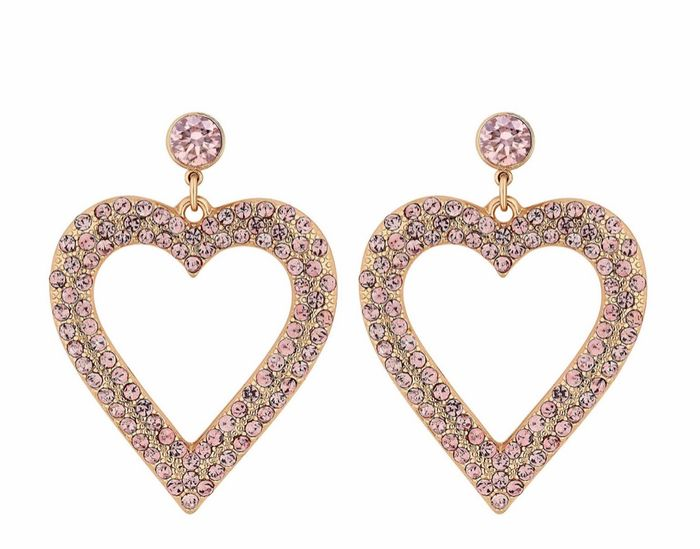 Lipsy - Rose Gold Plated Pink Pave Crystal Abstract Heart Drop Earrings