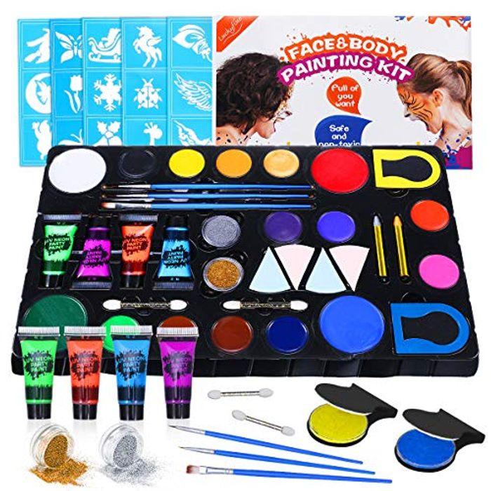 Face & Body Paint Kit 16 Colors & Temporary Tattoo Kit with Glitter Powder