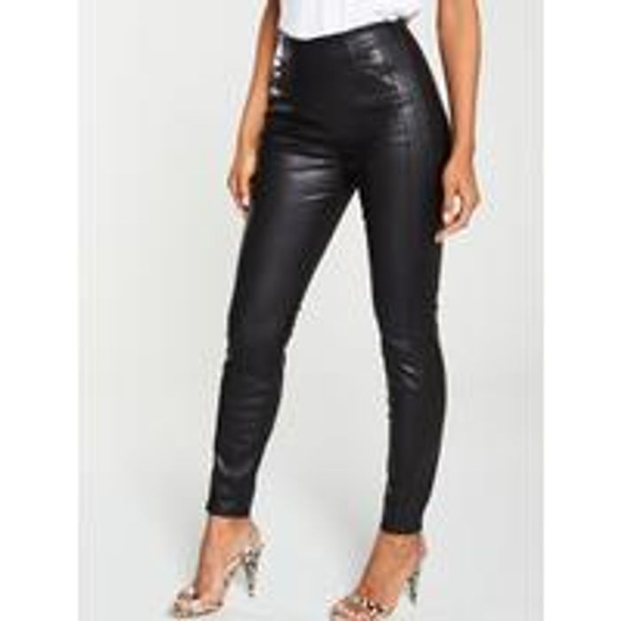 Best Price! HUGO BOSS Faux Leather Skinny Fit Trouser - Black