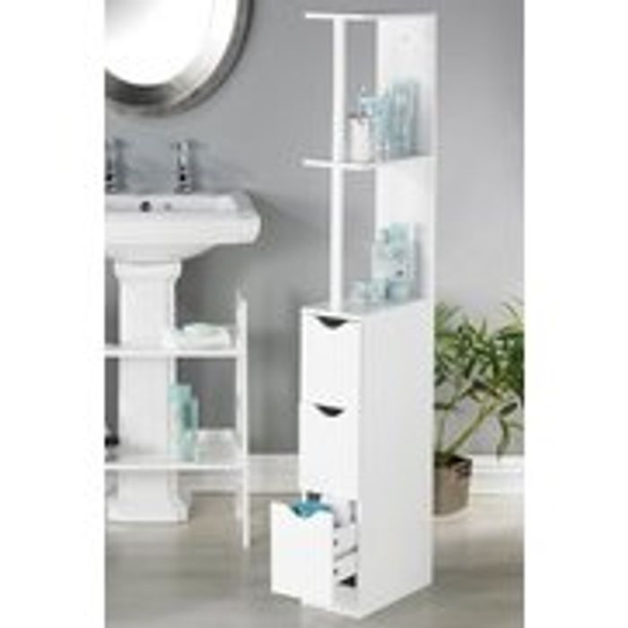 White Slimline Bathroom Unit on Sale From £79.99 to £42.99