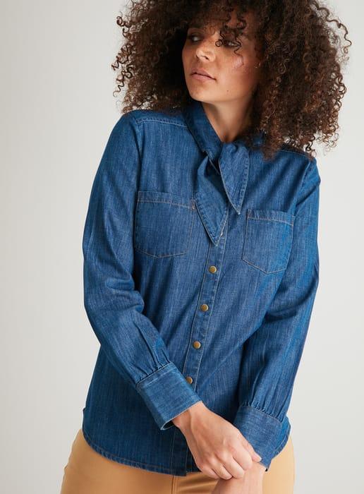 Women's Denim Neck Tie Western Shirt - HALF PRICE