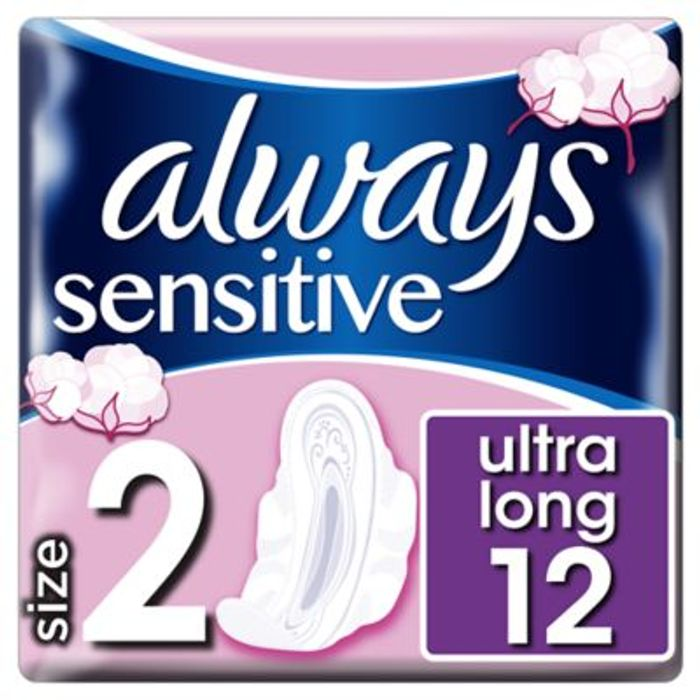 Always Sensitive Long Ultra (Size 2) Sanitary Towels Wings 12 Pads