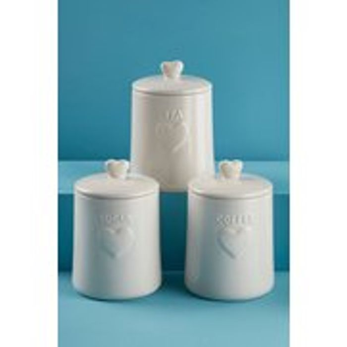 3 Ceramic Kitchen Heart Canisters at Studio