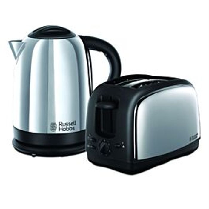 Best Price! Russell Hobbs Lincoln Kettle & Toaster Set Polished Stainless Steel