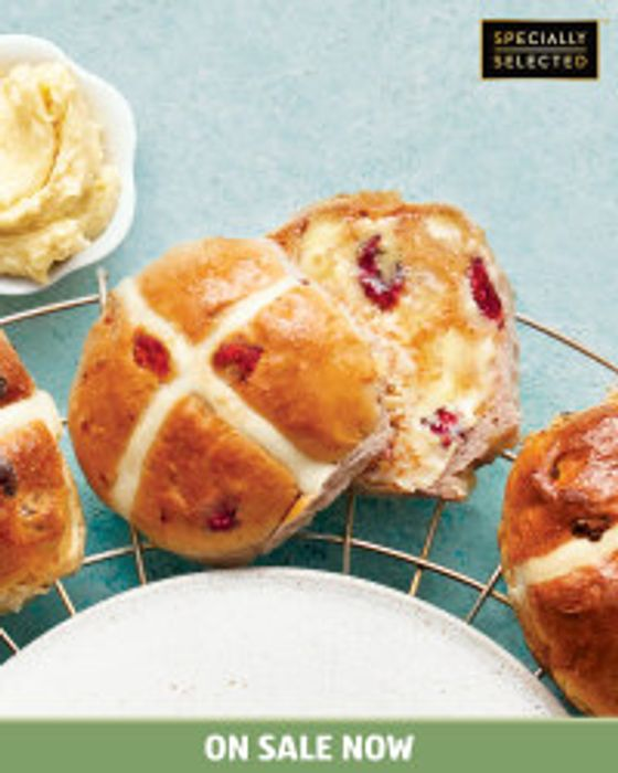 Raspberry & Chocolate Hot Cross Buns X4 - Other Flavours Also Available