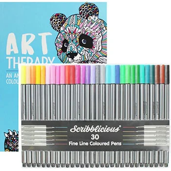 Art Therapy Colouring Book and Pens Bundle - HALF PRICE!
