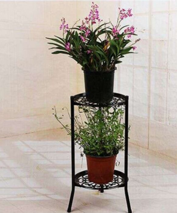 2 Tier Metal Plant Pot Display Stand Black or White *Multi Buy Available