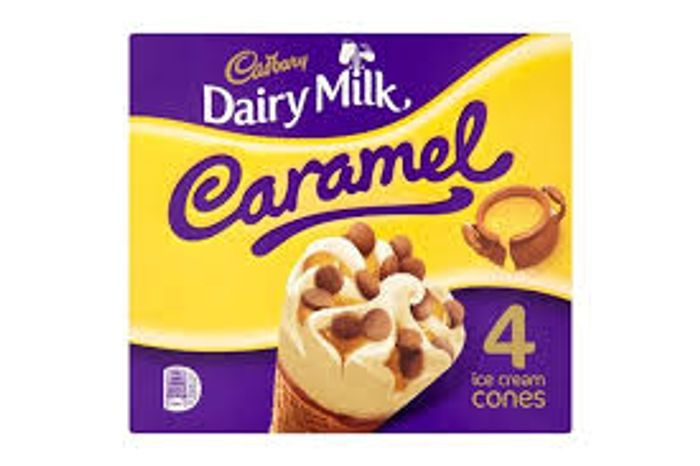 2 Packs of Cadbury 4 Dairy Milk Caramel Ice Cream Cones