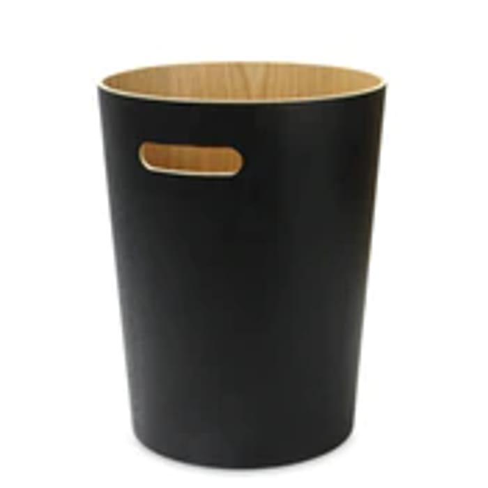 Cheap Wooden Waste Paper Bin | M&W Black at Roov