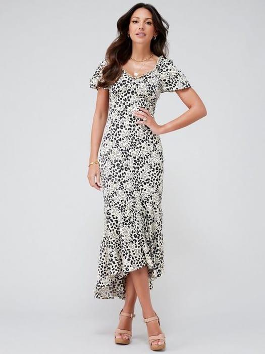 Michelle Keegan Printed Satin Midi Dress - Animal Print