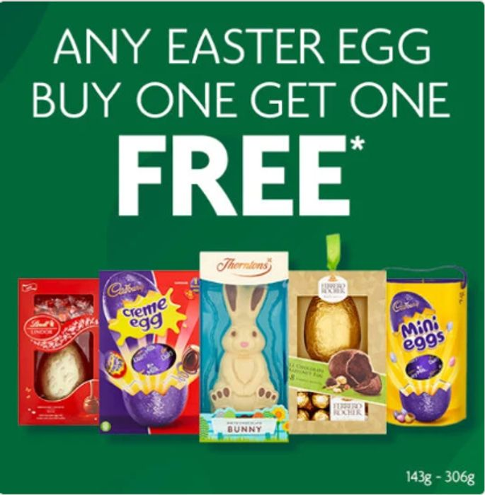 All Easter Eggs Buy One Get One Free Instore at Morrisons