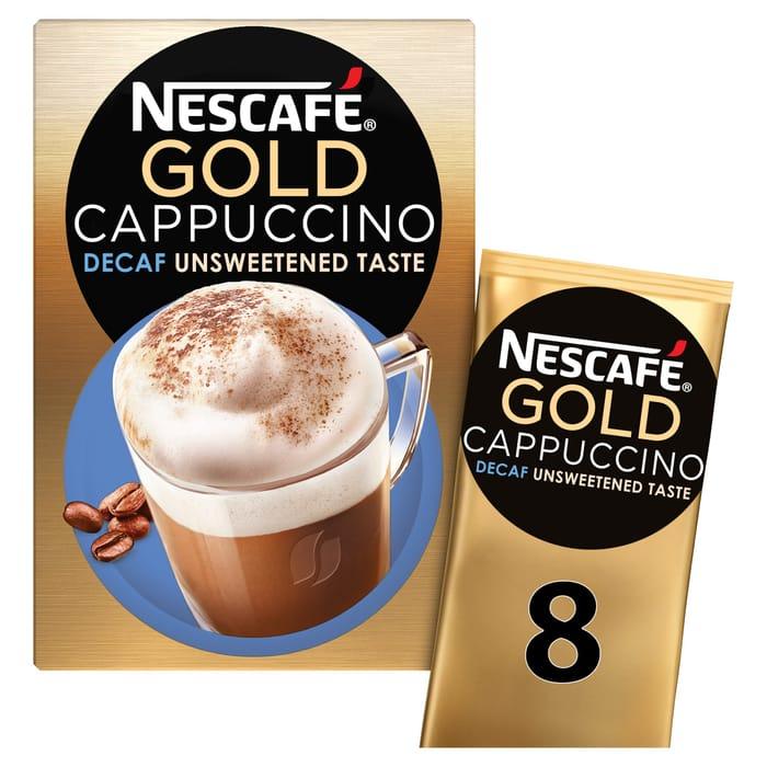 Nescafe Gold Cappuccino Decaffeinated Unsweetened 8 Sachets
