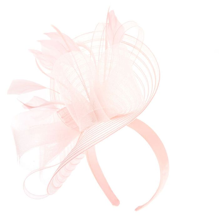 Large Feather Bow Hatinator Headband - Nude
