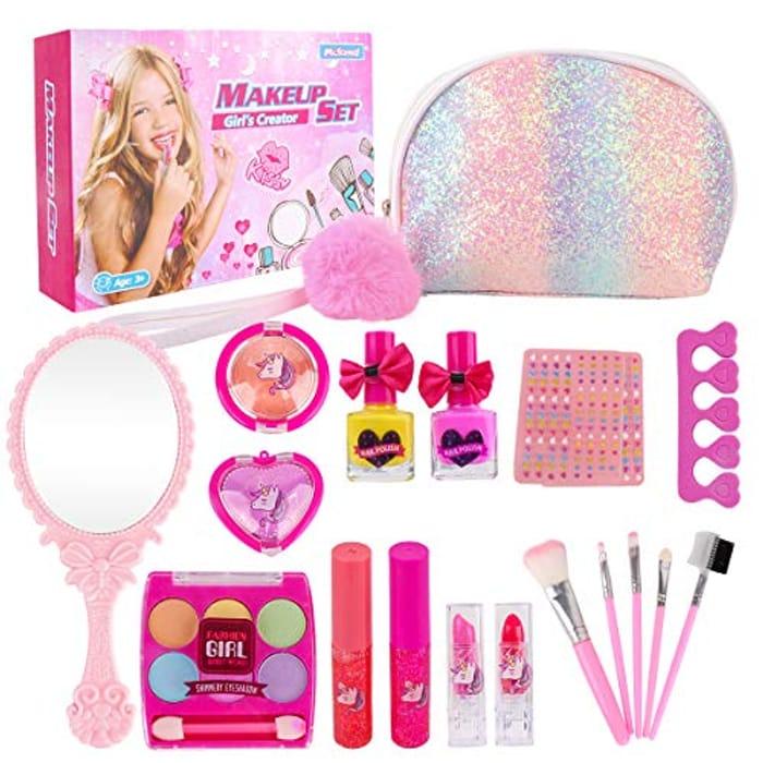 Kids Makeup Set for Girls - 19PCS Real Washable Cosmetics Kit