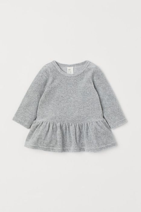 Baby and Toddler Velour Dress - Light Grey Marl