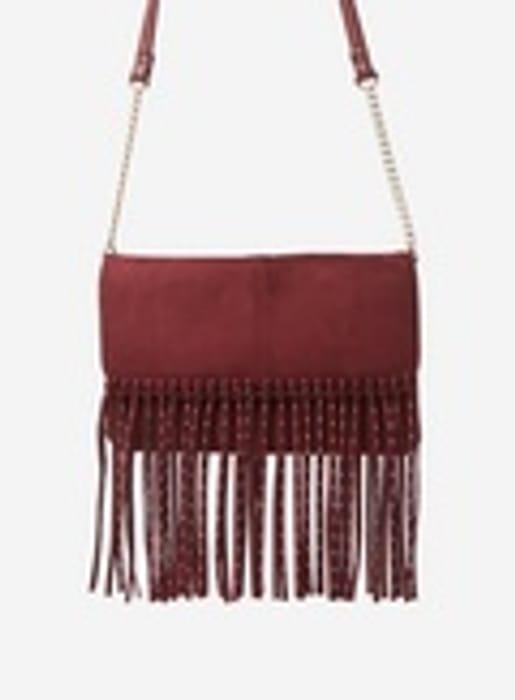 Berry Studded Fringe Cross Body Bag - Only £6!