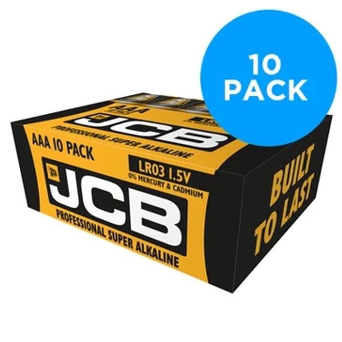 JCB Super Alkaline Industrial AAA / LR03 Batteries 10PK