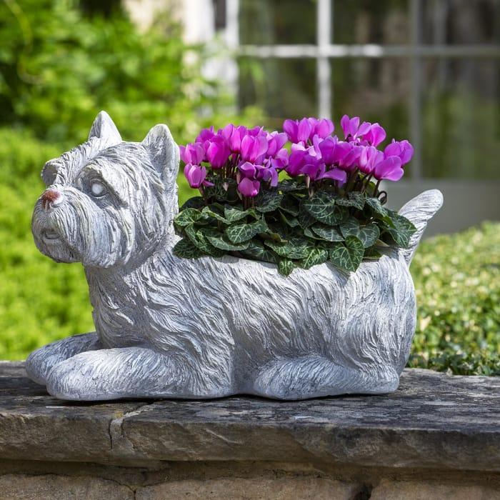 Resin Westie Dog Planter