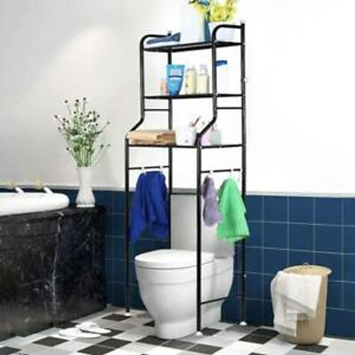 3 Tier Bathroom over Toilet Storage Shelves Towel Rail Shelf Rack Laundry Holder