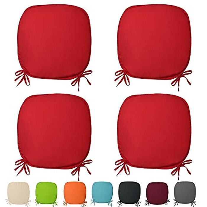 Set of 4 REMOVABLE Chair Cushion Seat Pads with Ties (Red) FREE DELIVERY
