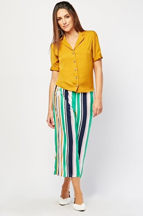 Cheap Candy Stripe Wide Crop Trousers - Only £5!