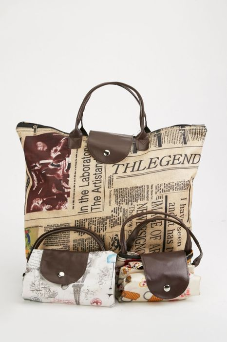 Set of 3 Foldable Printed Tote Bag at Everything 5 Pounds - Only £5!