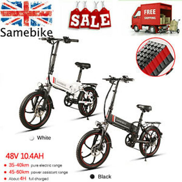 Samebike 20'' Electric Bicycle Ebike Citybike MTB Bike 350W 48V 7Speeds UK R8H1
