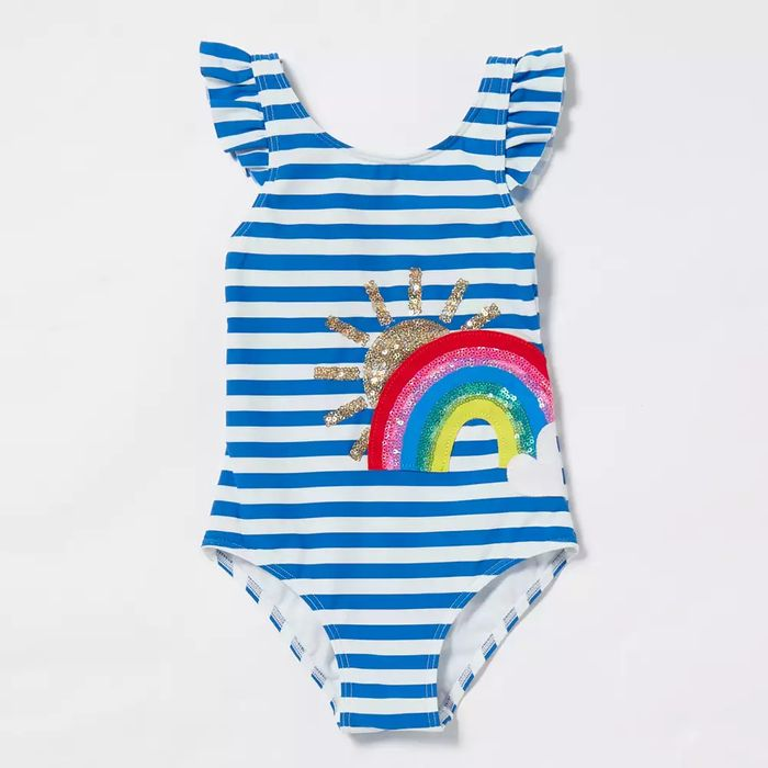 Girls' Multicoloured Striped Sequin Embellished Rainbow Swimsuit