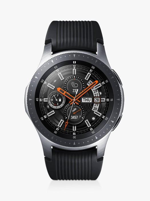 Samsung Galaxy Watch, 46mm, Silver / Black & Samsung Duo + Charge Pad (Bundle)