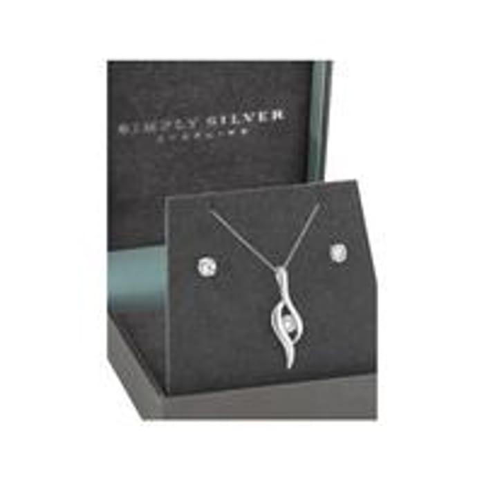 Simply Silver Cubic Zirconia Polished Twist Stone Jewellery Set