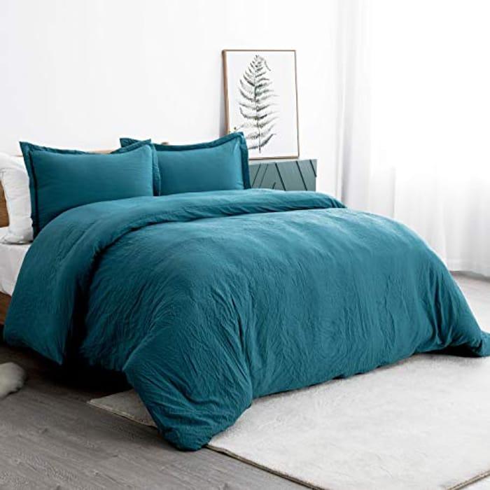 Bedsure Washed Duvet Cover King Size 3pcs Teal Bedding
