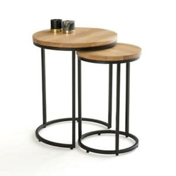 La Redoute Vova Nest of 2 Side Tables - Oak & Steel RRP £160
