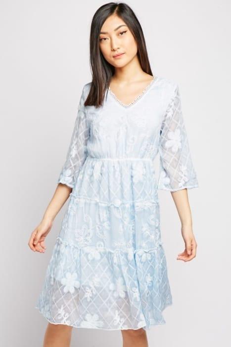 Embroidered Sheer Midi Dress