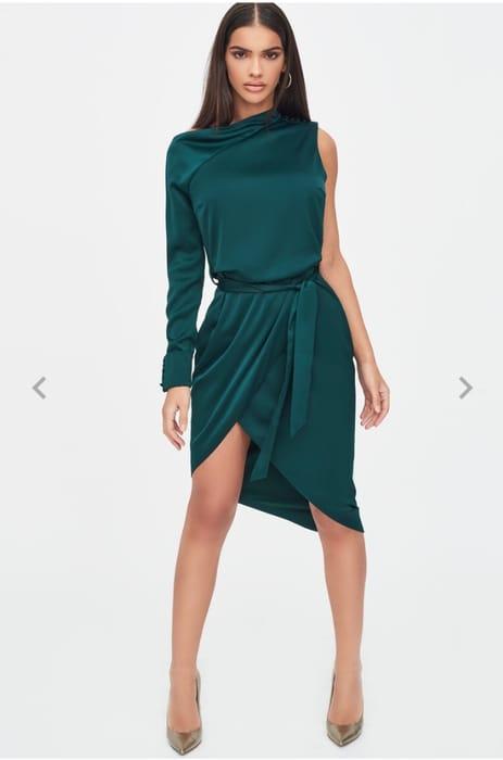 Lavish Alice - Satin Cut out Shoulder Wrap Dress in Emerald Green
