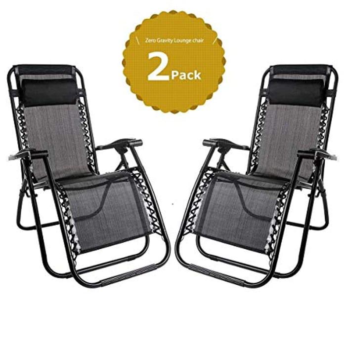 Set of 2 Heavy Duty Textoline Zero Gravity Chairs