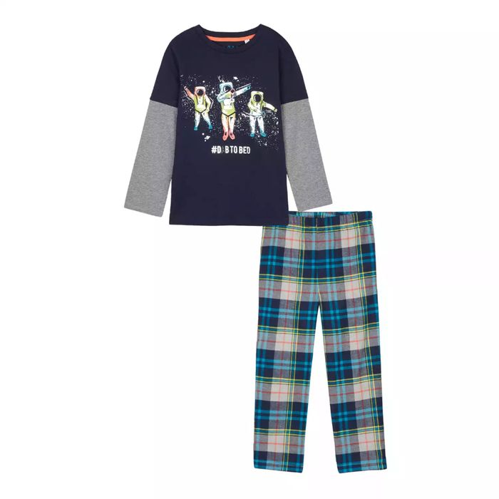 Bluezoo - Boys' Navy Space Print Mock Sleeves Pyjama Set