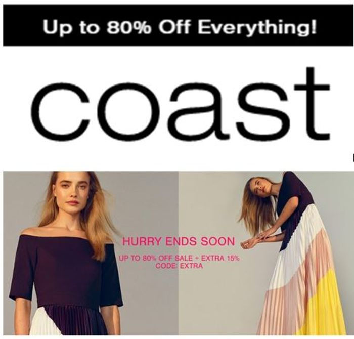 COAST SALE - up to 80% off + 15% EXTRA OFF