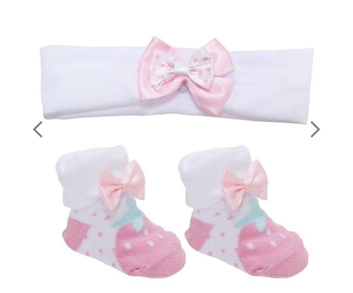 Baby Girls Little Strawberry Socks & Headband Set